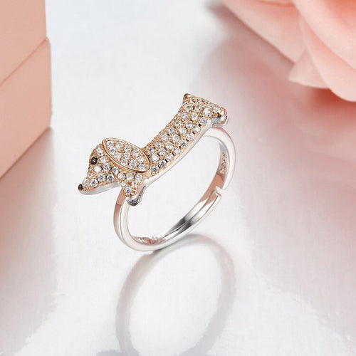 925 Sterling Silver Dachshund Adjustable Ring