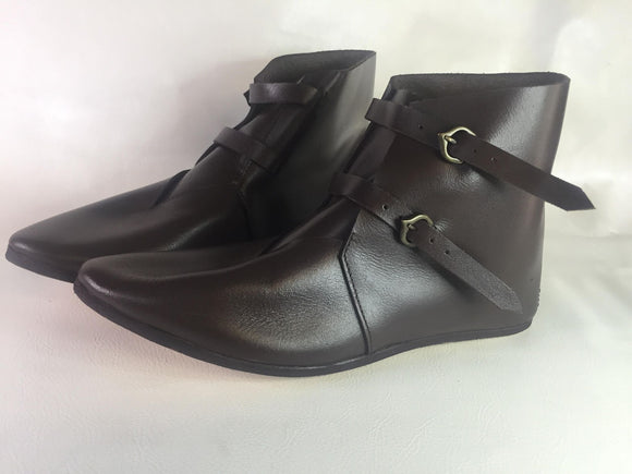Buckled Medieval Leather Ankle Boots -301