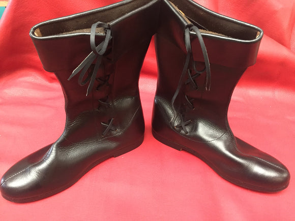 Side Laced Leather Boots - 303