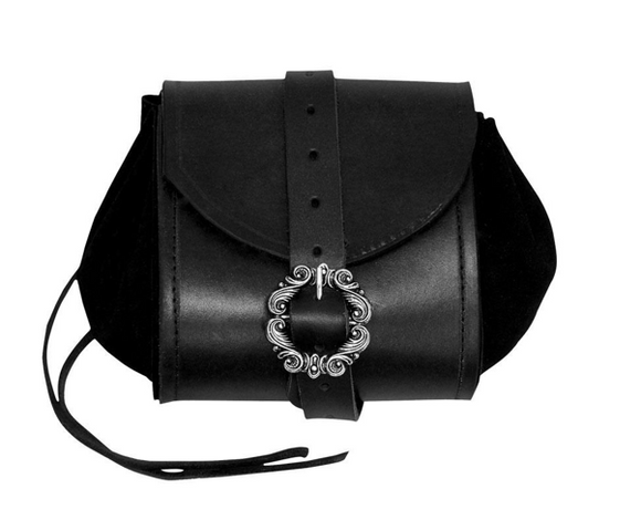 Black leather and suede belt pouch