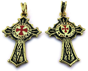 Templar-Knights-Cross,  24 Carat Gold plated, two-faced design pendant