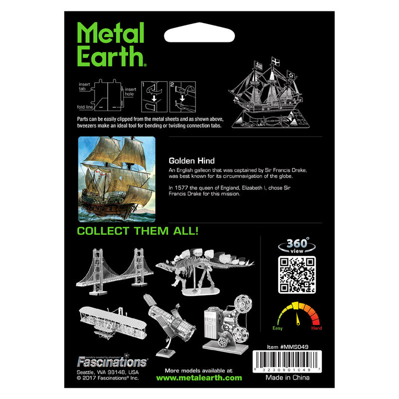 3D metalna maketa - engleska galija Golden Hind