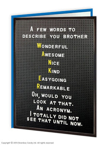 A Few Words to Describe you Brother Card