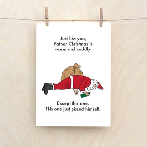 Drunk Father Christmas Card