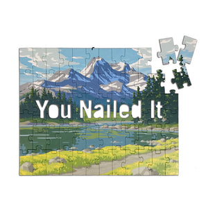 """You Nailed It"" Jigsaw puzzle with a secret message."
