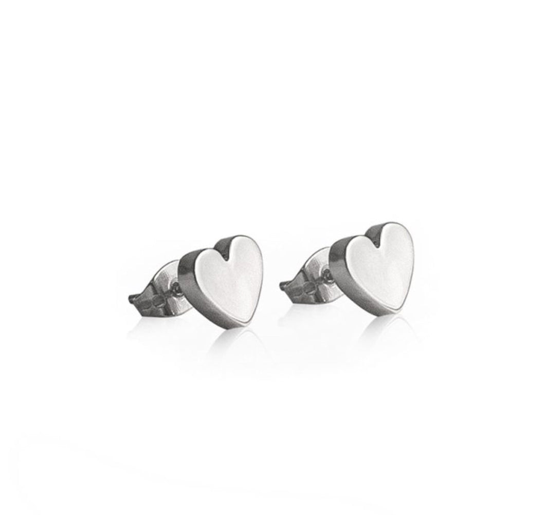 Silver Heart Stud Earrings by Tales From The Earth.