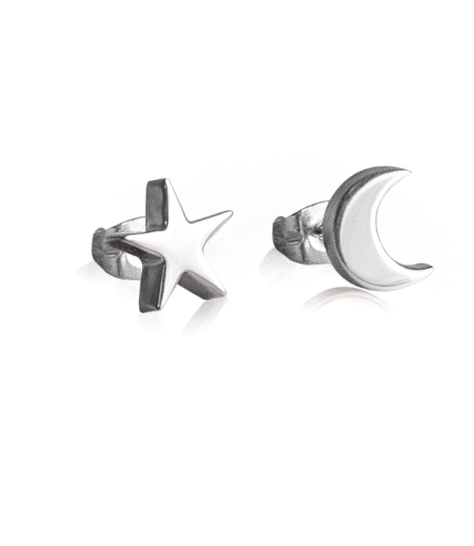 Silver Star and Moon Stud earrings