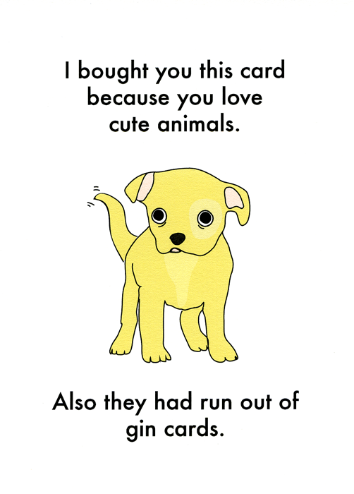 Cute Animals Gin Card