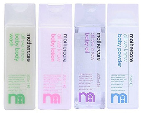 Mothercare All We Know Baby Body Wash (300ml), Baby Lotion (300ml), Baby Oil (300ml) and Baby Powder (150gm) Combo