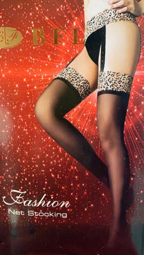 Leopard print stockings and suspenders 9866