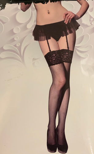 Frilly skirt & fishnet stockings 9610