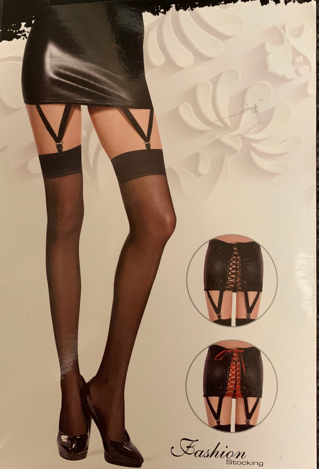 Lace up back skirt and stockings 9820