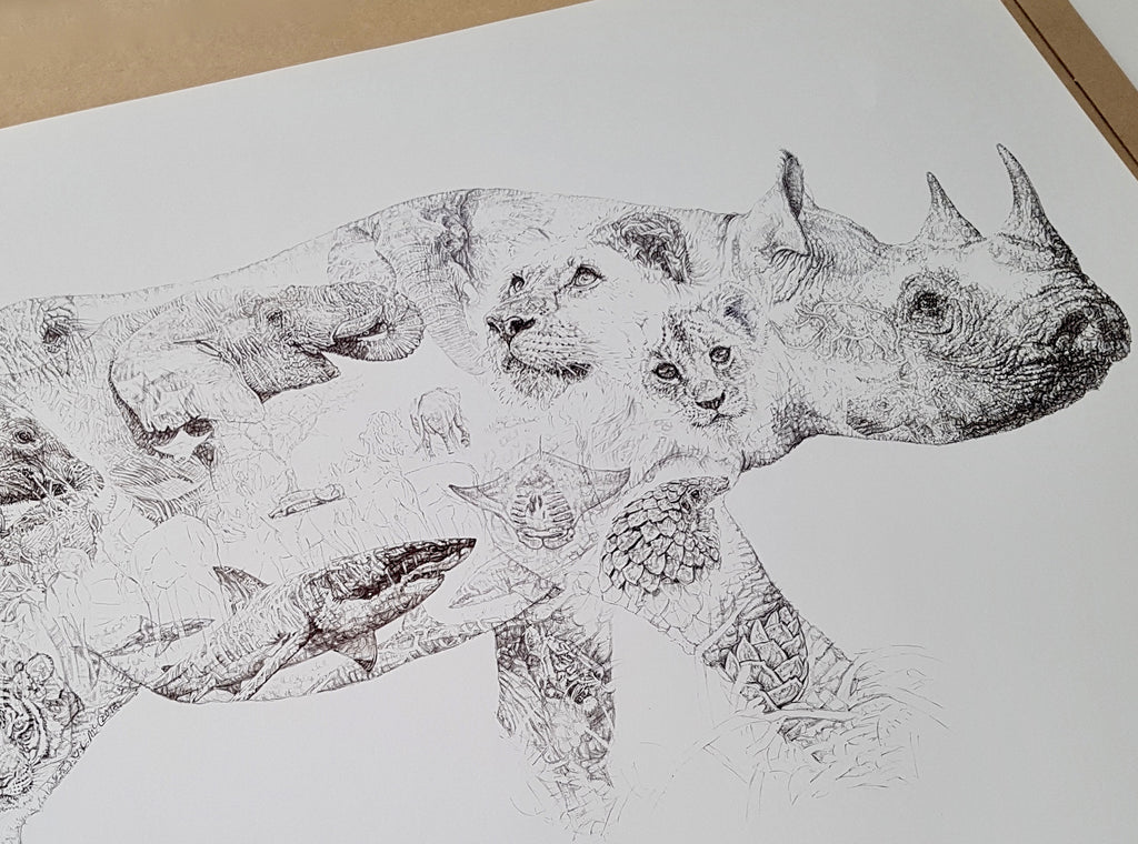 Biro drawing of a rhino layered with drawn images of lions, elephants, sharks, manta ray and pangolin made by Jane Lee McCracken for Chengeta Wildlife
