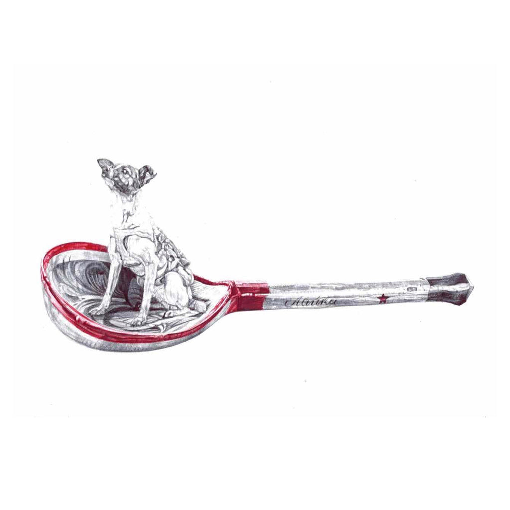 Red and black Biro drawing of a Russian wooden spoon with Laika cosmonaut dog sitting in bowl