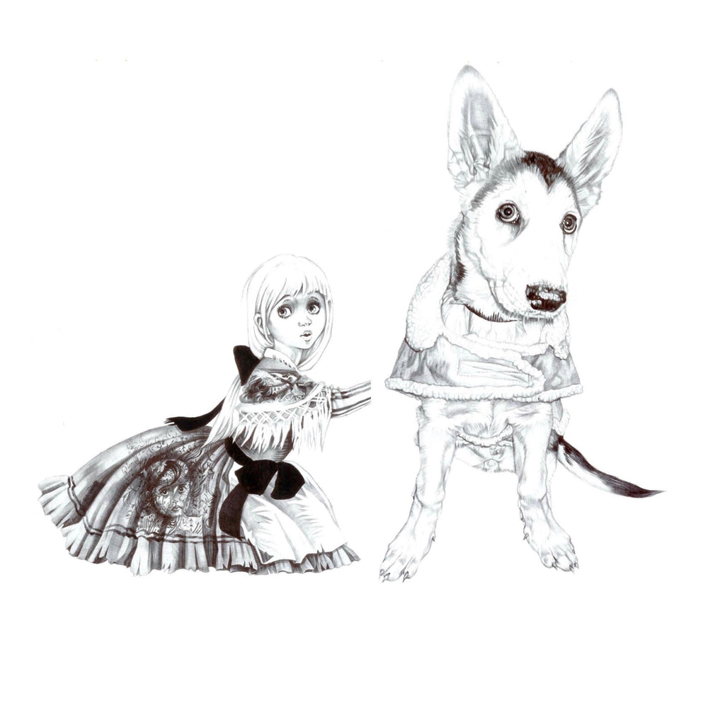 Biro drawing of Gretel after Janet and Anne Grahame Johnstone drawing sitting next to a giant puppy