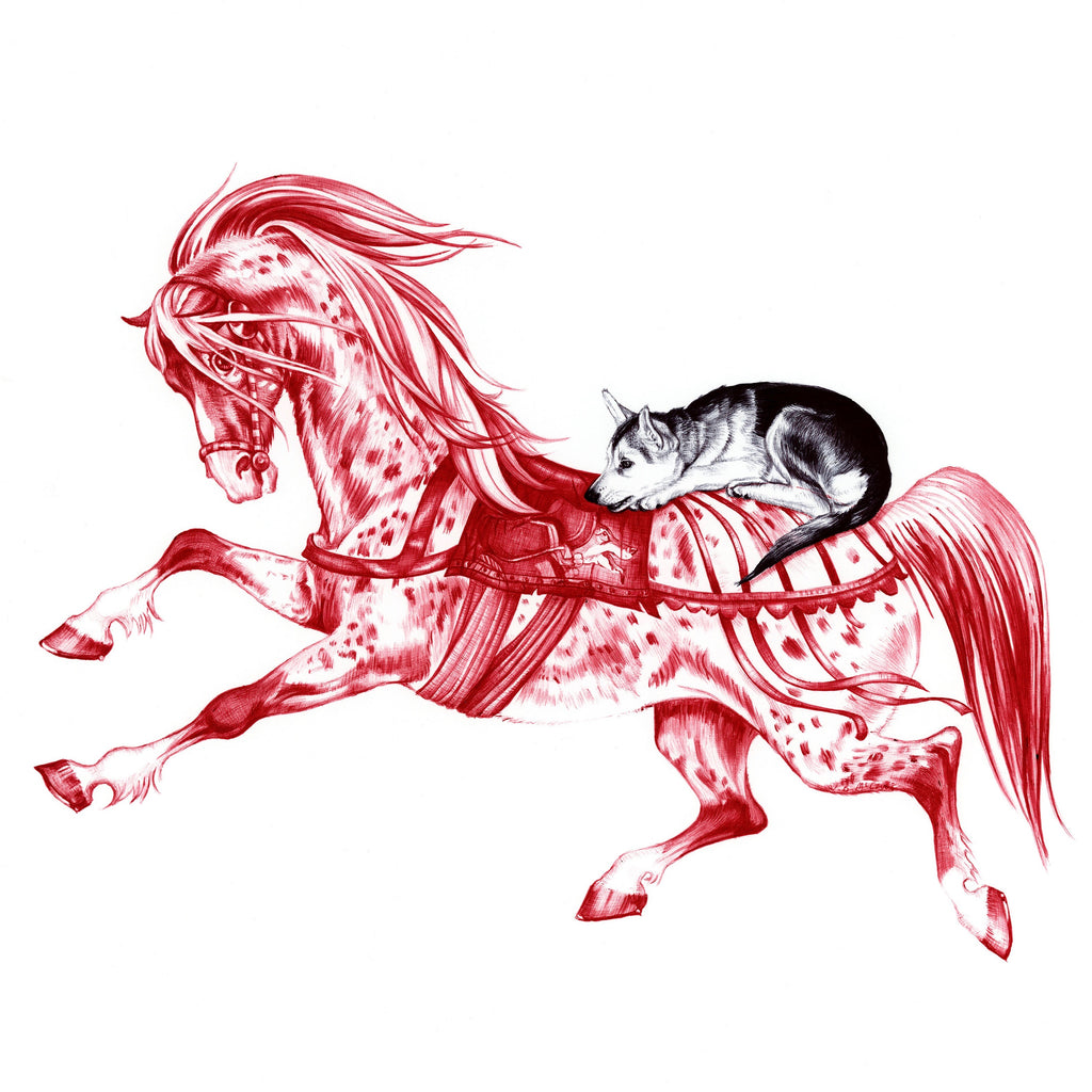Red and black Biro drawing of a horse after Janet and Anne Grahame Johnstone and a wolf cub on it's back