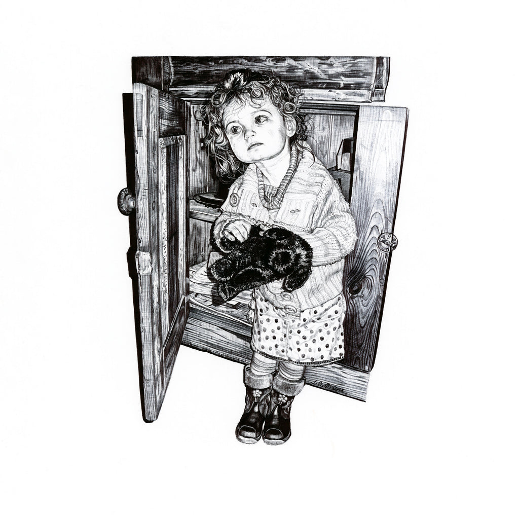 Biro drawing of a little girl holding a toy next to a sideboard