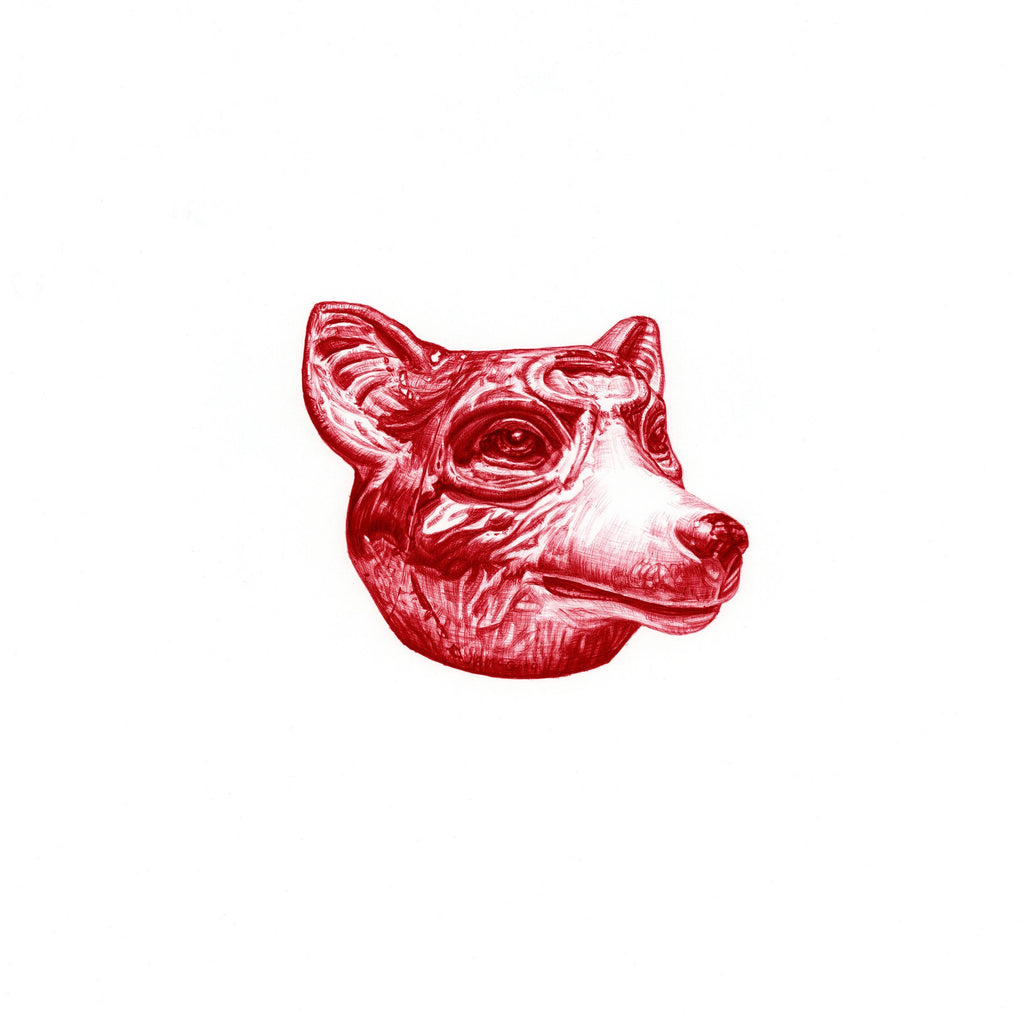 Red Biro drawing of an Edwardian wolf spill vase