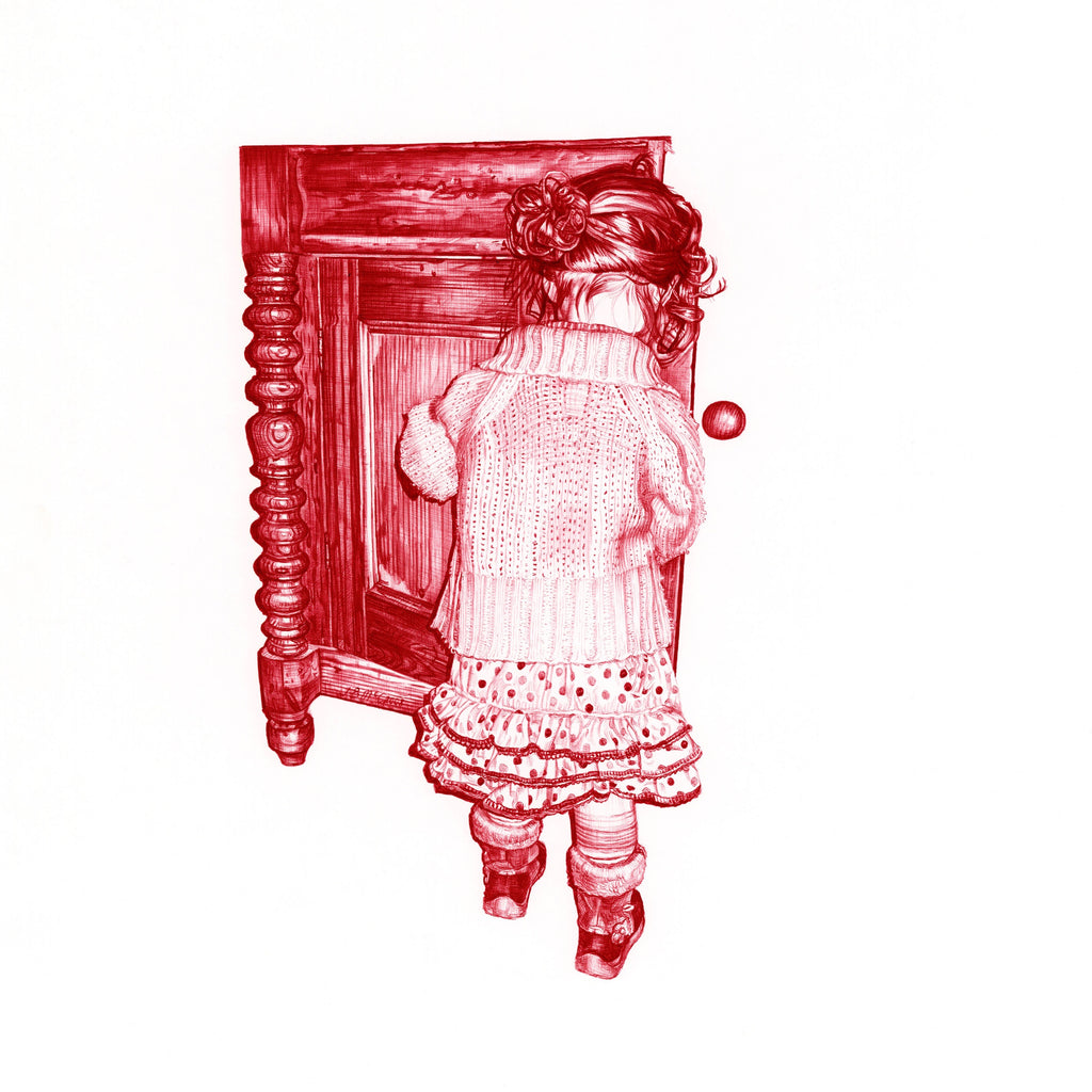 Red Biro drawing of a little girl next to a sideboard