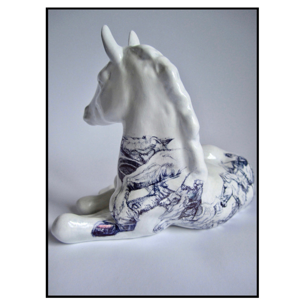 China Lomonosov foal figurine with Biro drawing of horses