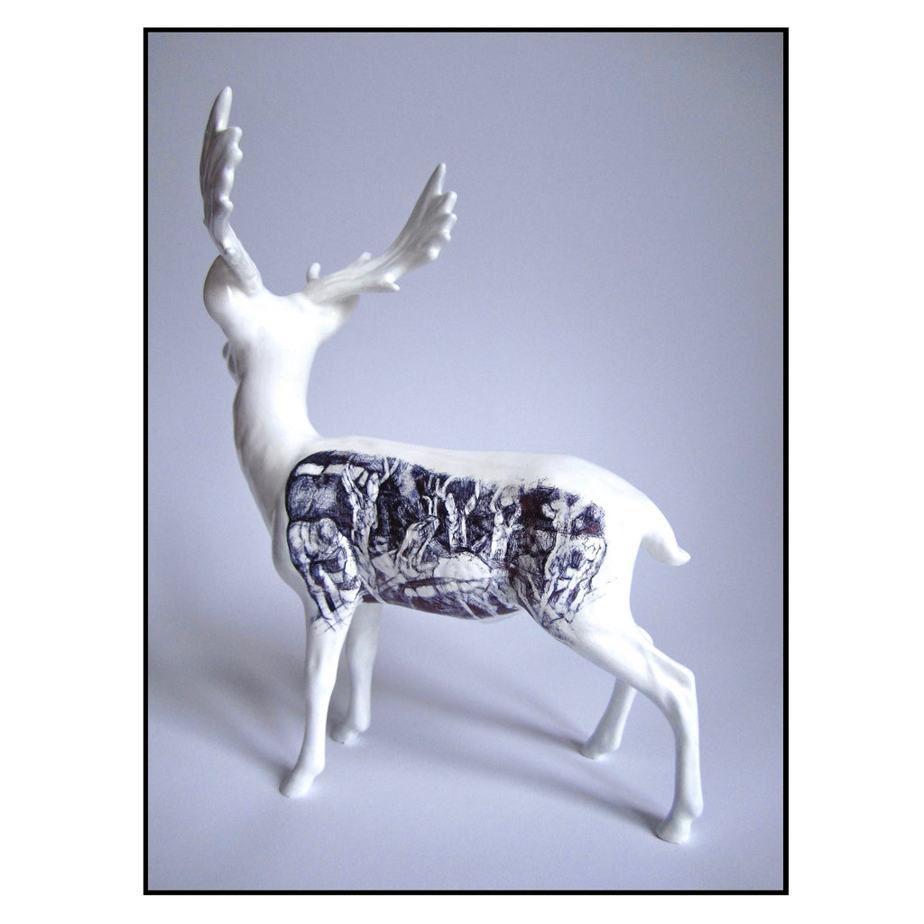 China stag figurine with a biro drawing of deer