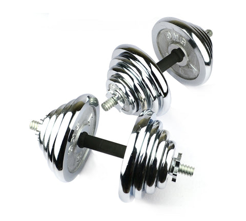 Pair of Adjustable Chrome Iron Dumbbell