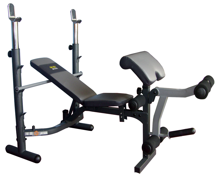 Commercial Bench Press With 50kg Barbell With Curl Pad