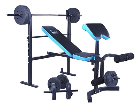 Bench Press with 50KG Barbell, Dumbbell & Biceps Curl Pad