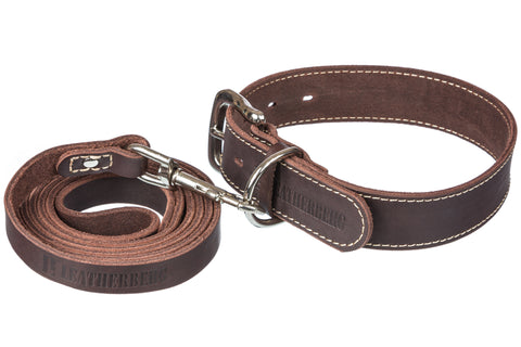 LEATHERBERG Leather Dog Collar Large for Large Dogs ( Brown )