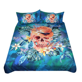 Fancy Flower Skull Duvet Cover