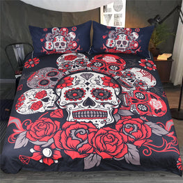 Red Rose Skull Duvet Cover