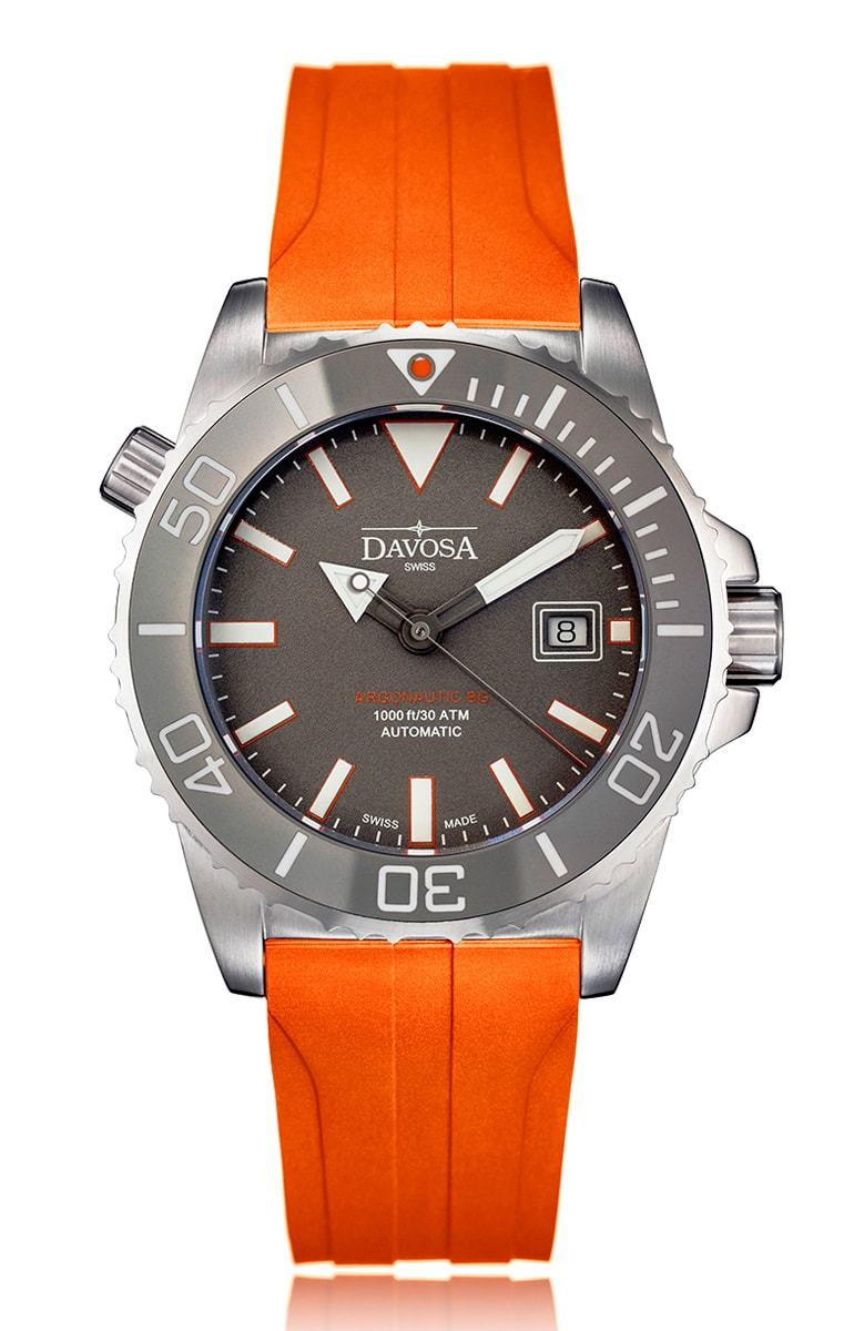 Argonautic bg automatic grey with orange rubber band 300m 16152299