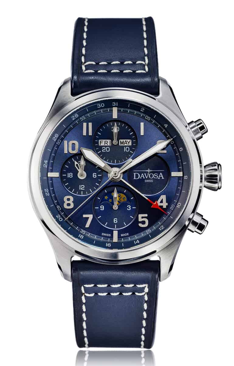 Newton pilot moonphase chronograph automatic - blue - 16158645
