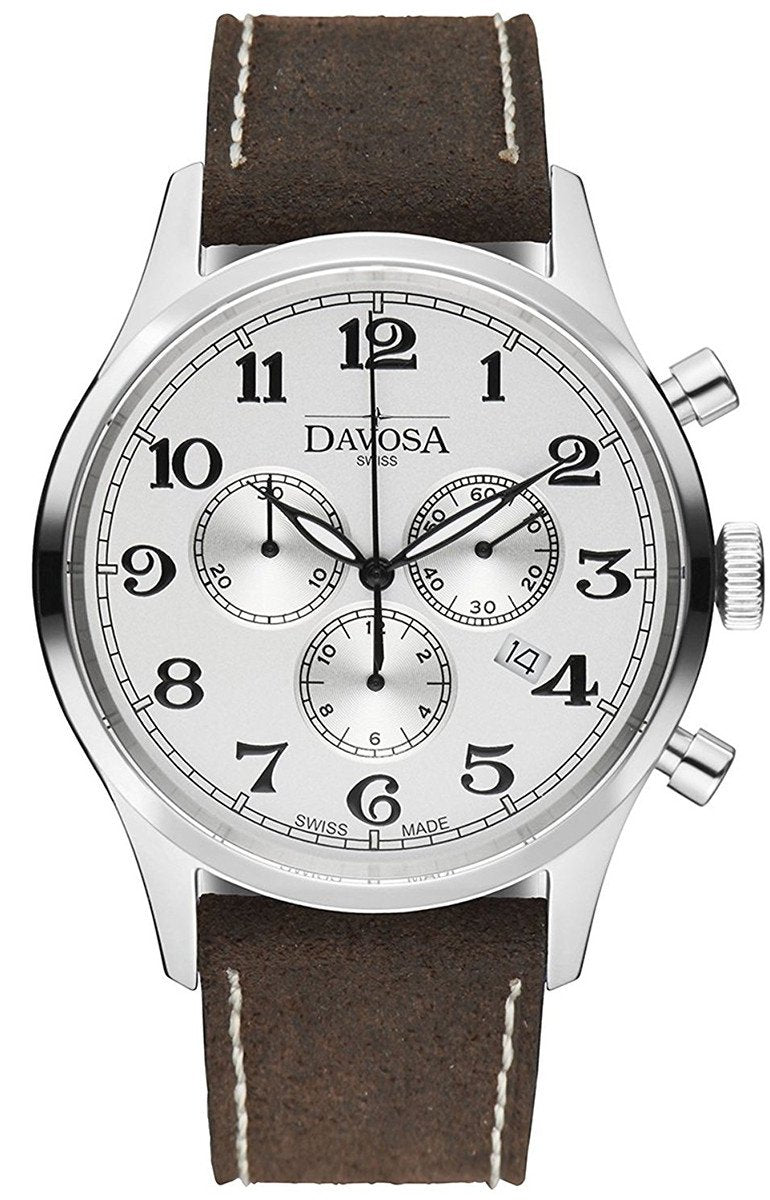 Heritage Chronograph 16247916 Wrist Watch Genuine Leather, White
