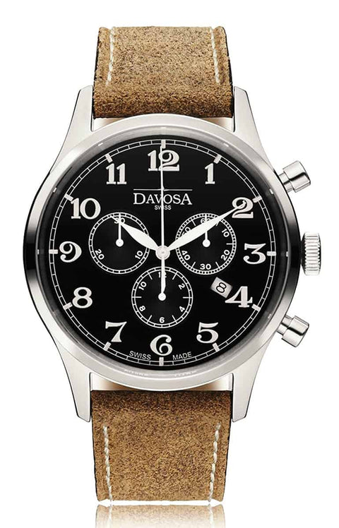 Heritage chronograph 16247956 men wrist watch genuine leather, black - outlet