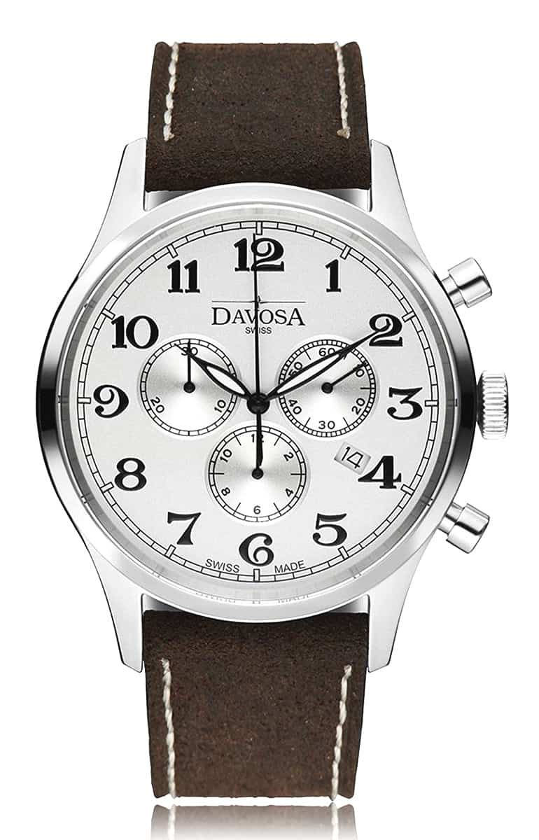 Heritage chronograph 16247916 wrist watch genuine leather, white - outlet