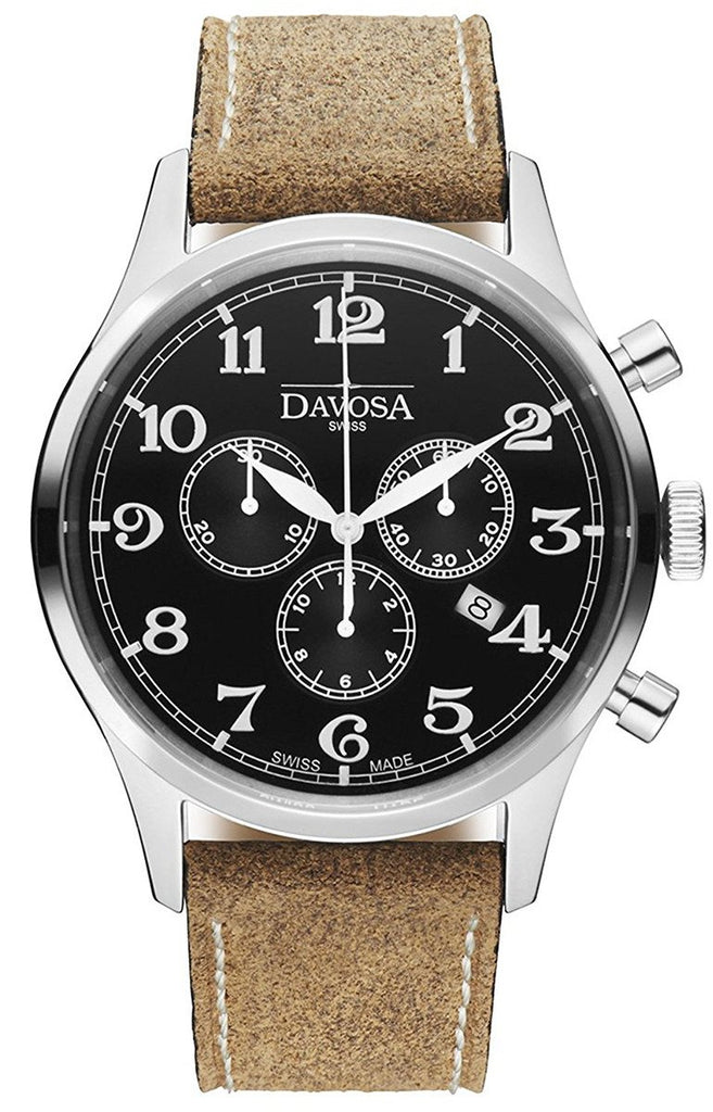 Heritage Chronograph 16247956 Men WristWatch Genuine Leather, Black
