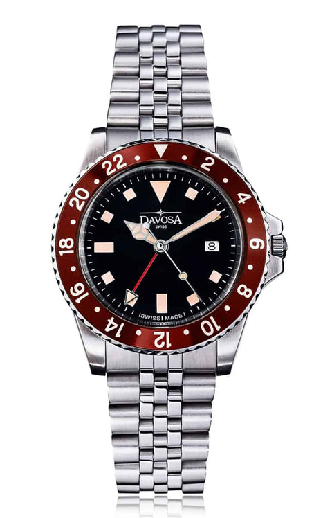 Vintage diver quartz 100m burgundy 39mm stainless steel bracelet 16350060