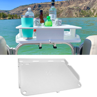 The Docktail Boat Table Caddy plus Custom Serving / Bait Table with Pontoon Rail Mount