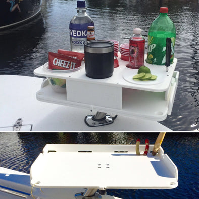 The Docktail Boat Table Caddy plus Custom Bait Table with All Angle Adjustable Rod Holder Mount