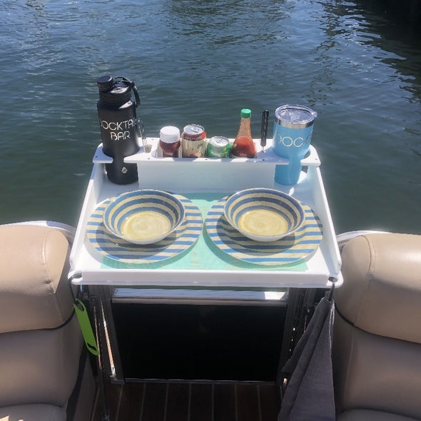 Docktail® Bar Boat Utility Table with Pontoon Rail Mount