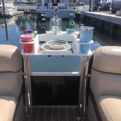 Docktail Butler Ultimate Boat & Marine Table with Pontoon Rail Mount