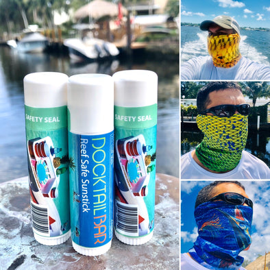 Sunshield Bundle Package - 3 UV Protective Face Shields + 3 Tubes of Docktail Bar's Reef Safe Sunstick