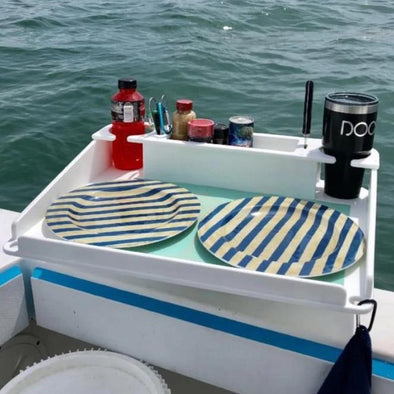 Docktail Bar Boat Utility Table with All Angle Adjustable Rod Holder Mount