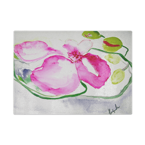 CUTTING BOARD, PINK ORCHID - Tempered Glass