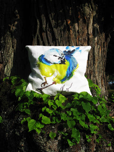 CUSHIONS COVER, THE BLUE BIRD IN THE GARDEN