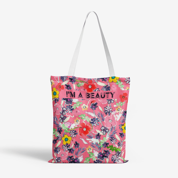 GOL GARDEN ,I `M A BEAUTY  || Heavy Duty and Strong Natural Canvas Tote Bags