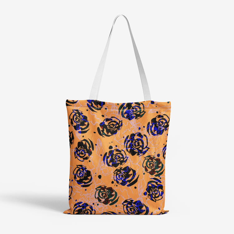 Heavy Duty and Strong Natural Canvas Tote Bags || ORANGE ROSES ||