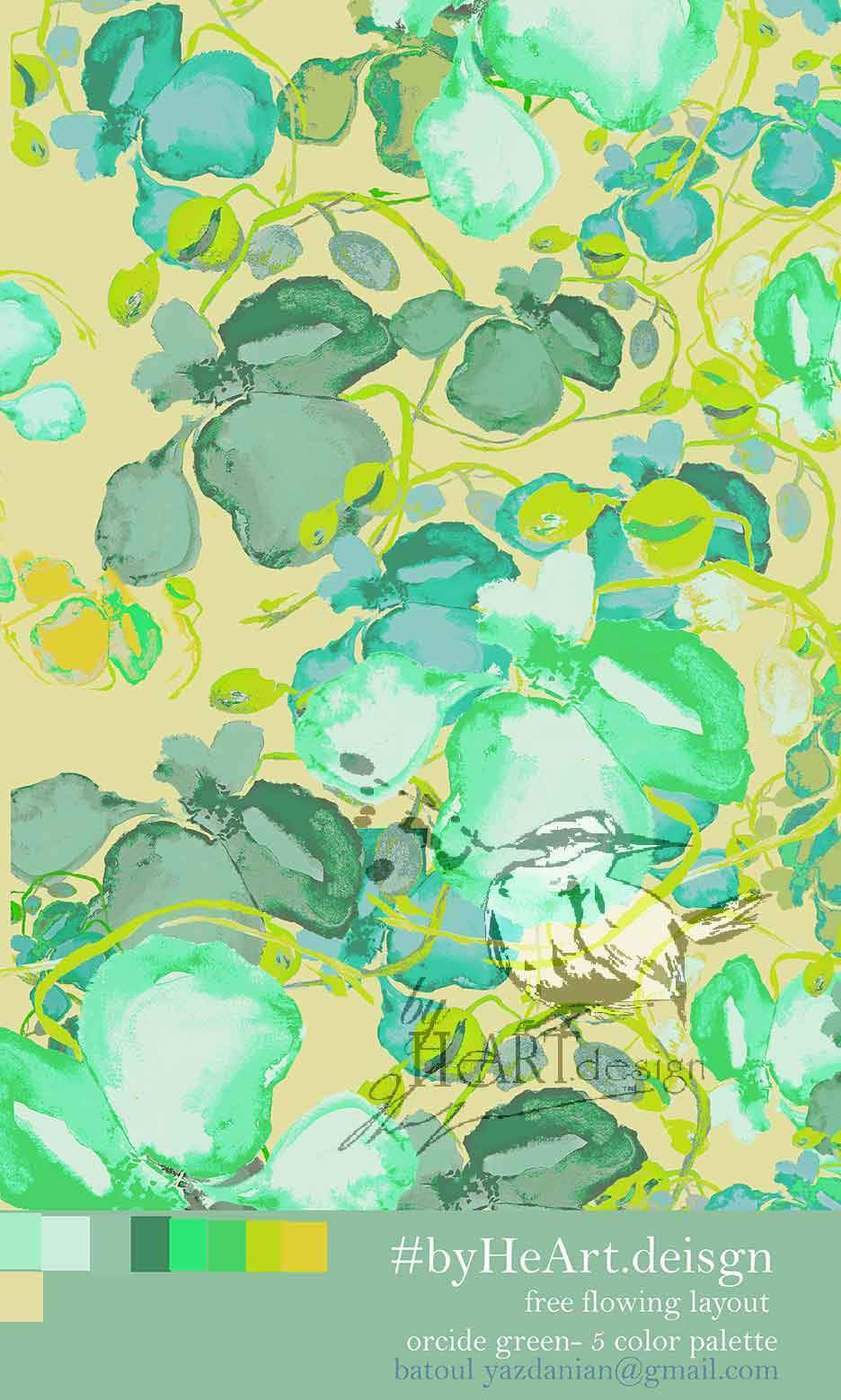 FLORAL DESIGN, GREEN ORCHIDS