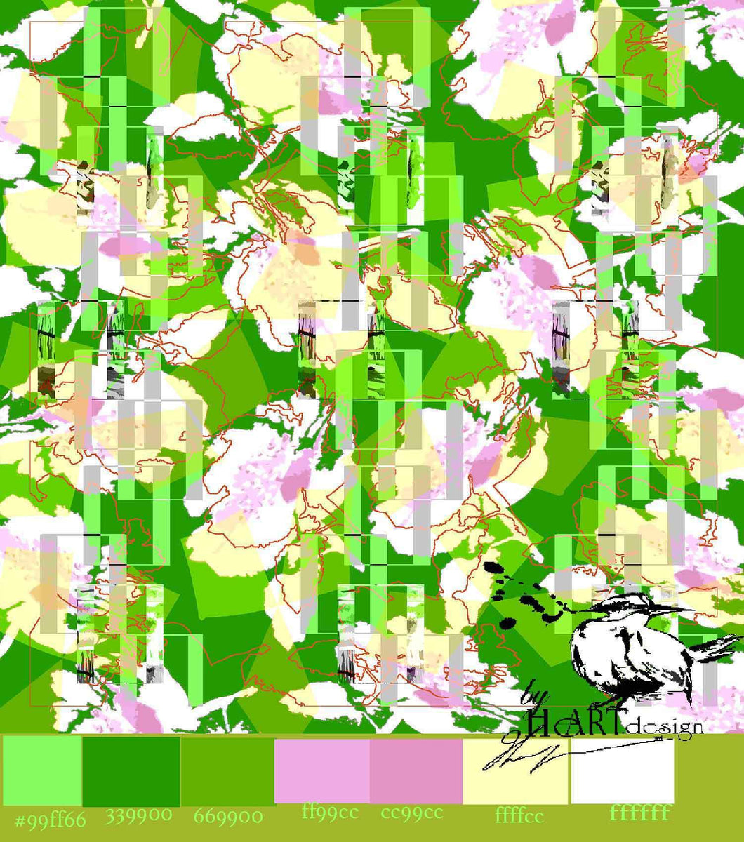 ABSTRACT PATTERN, TUTTI FRUTTI GREEN FLOWERS